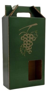 """Generic two-bottle cardboard case with """"Select Wine"""" written on it,"""